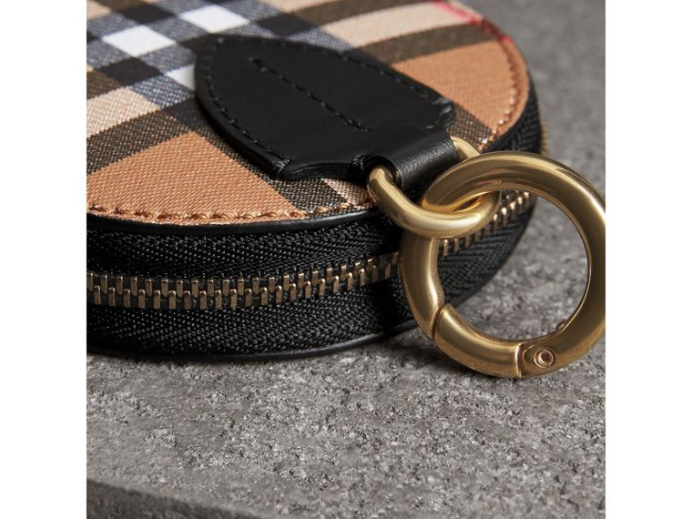 Vintage Check and Leather Coin Case in Black - Women | Burberry United Kingdom - cell image 1