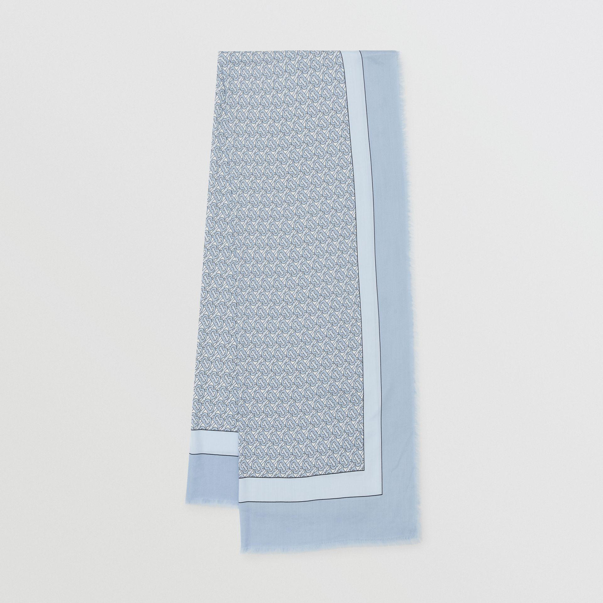 Monogram Print Lightweight Cashmere Scarf in Light Blue | Burberry - gallery image 0