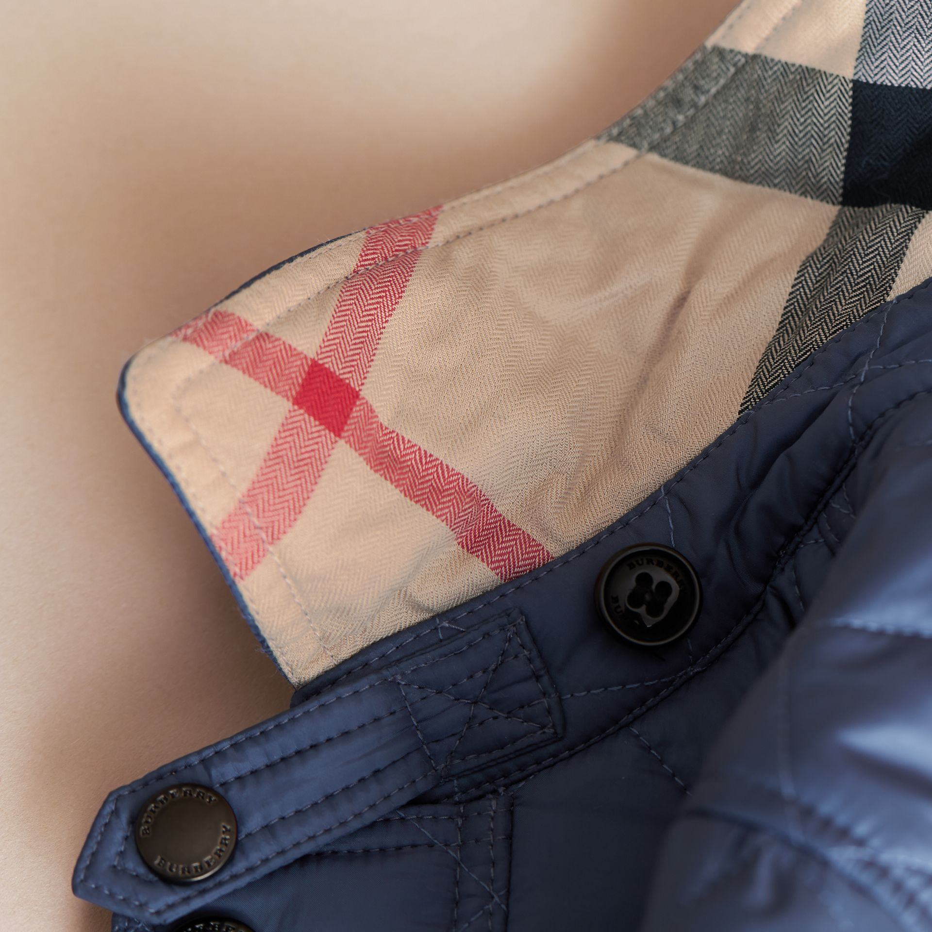 Detachable Hood Lightweight Quilted Jacket in Mineral Blue - Boy | Burberry United Kingdom - gallery image 5
