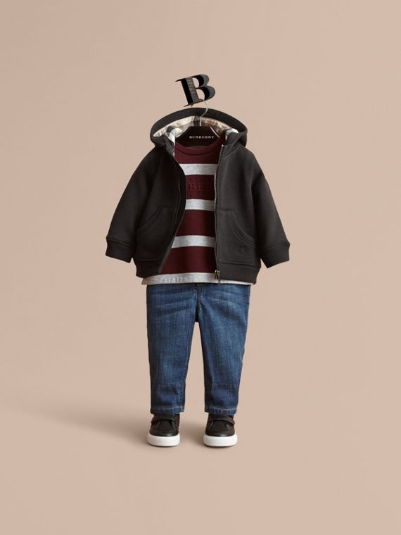 Check Detail Hooded Cotton Top in Black | Burberry Australia