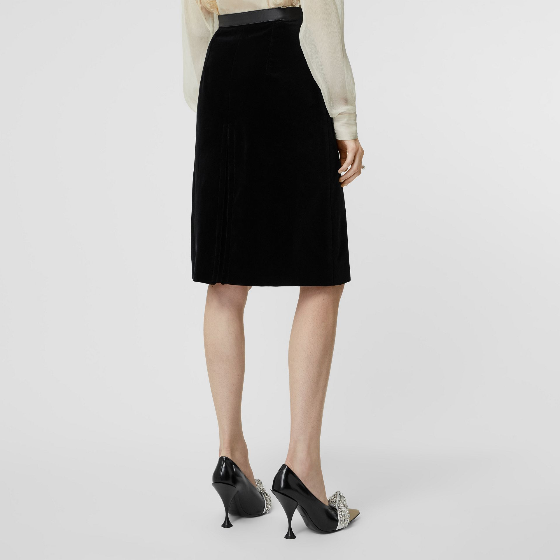 Lambskin Trim Box Pleat Detail Velvet and Wool Skirt in Black - Women | Burberry - gallery image 1