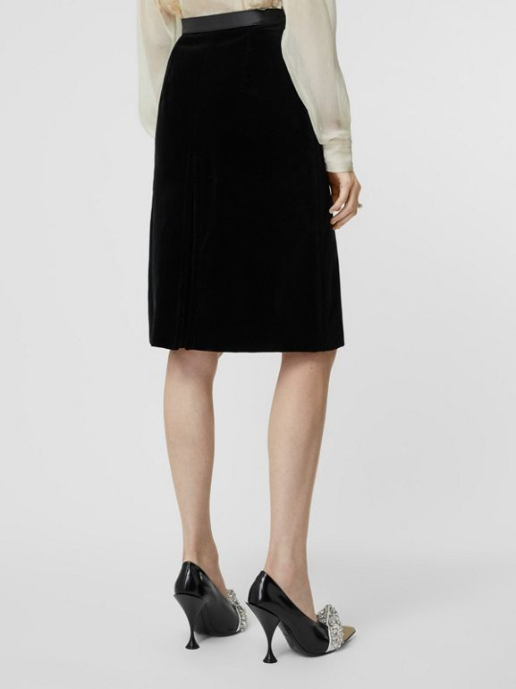 Lambskin Trim Box Pleat Detail Velvet and Wool Skirt in Black - Women | Burberry - cell image 1