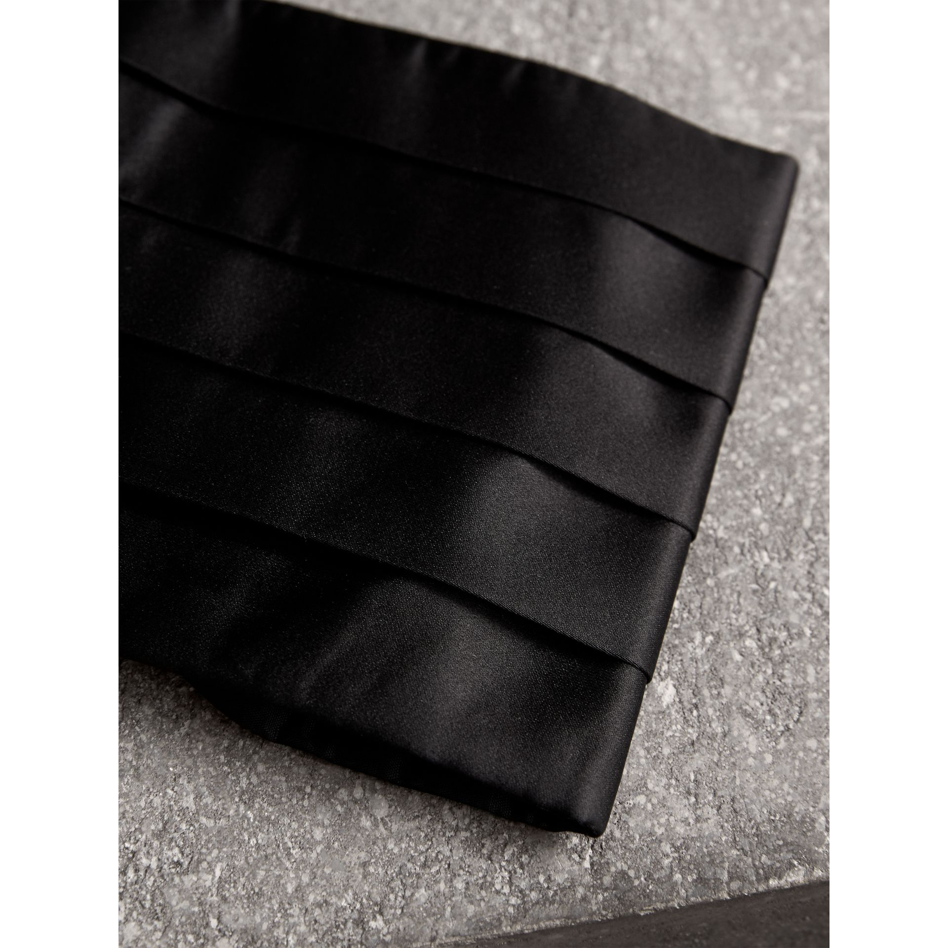 Pleated Silk Cummerbund in Black - Men | Burberry - gallery image 1