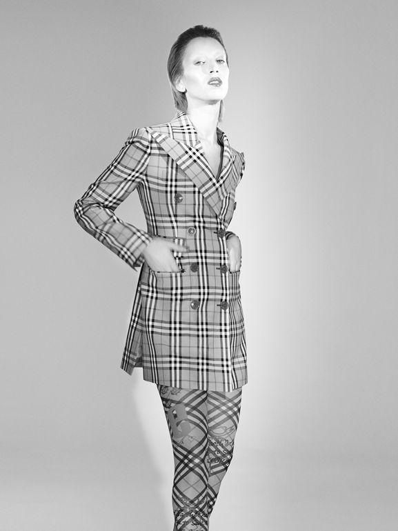 Vintage Check Wool Double-breasted Jacket in Antique Yellow - Women | Burberry - cell image 1