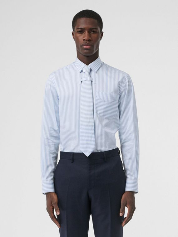 Striped Cotton Shirt and Tie Twinset in Pale Blue