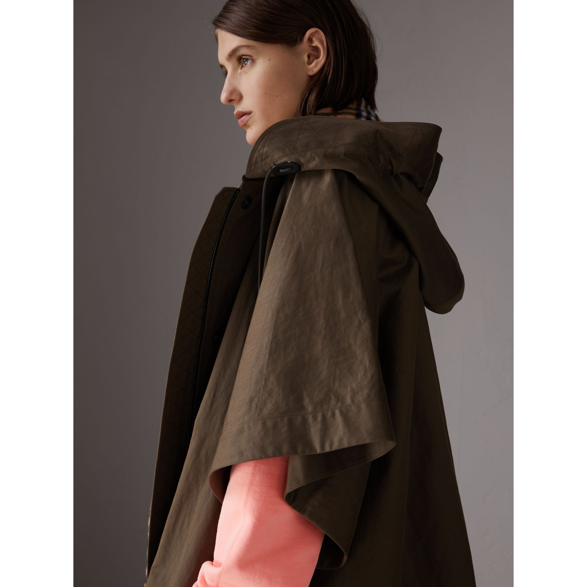 Showerproof Oversized Parka Cape in Dark Olive - Women | Burberry - gallery image 4