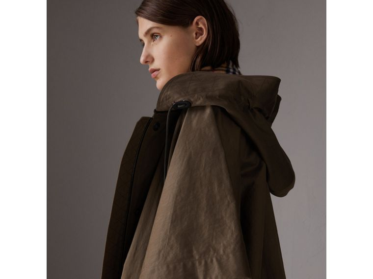 Showerproof Oversized Parka Cape in Dark Olive - Women | Burberry - cell image 4