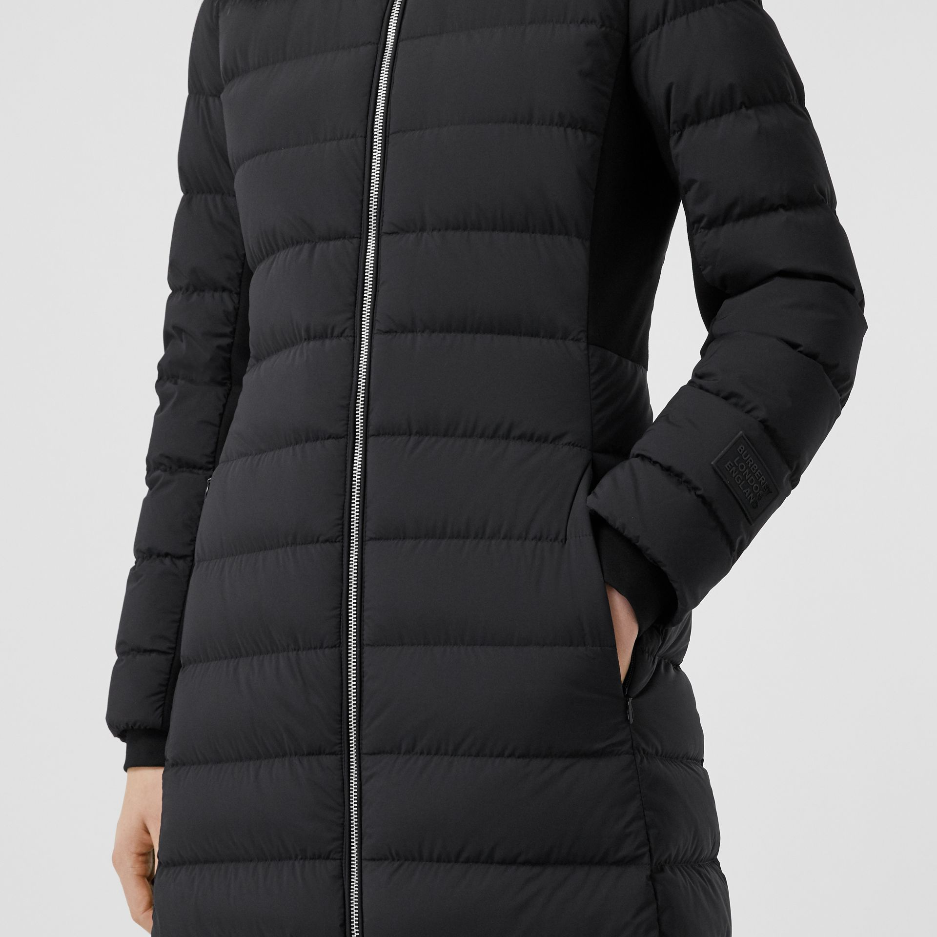 Detachable Faux Fur Trim Hooded Puffer Coat in Black - Women | Burberry United Kingdom - gallery image 4