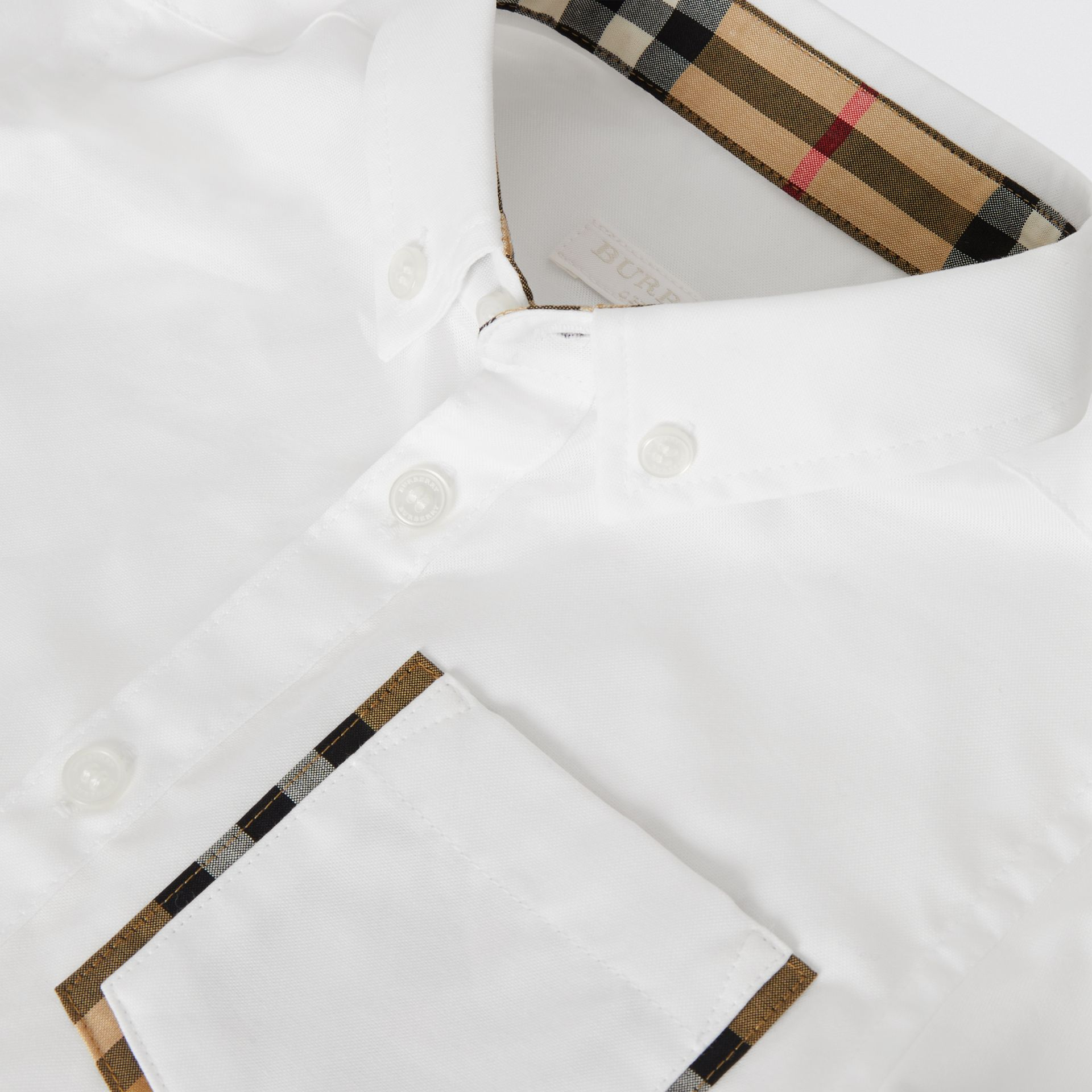 Short-sleeve Check Detail Cotton Oxford Shirt in White | Burberry - gallery image 1