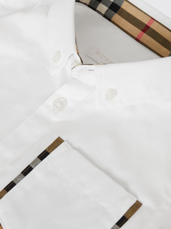 Short-sleeve Check Detail Cotton Oxford Shirt in White | Burberry - cell image 1