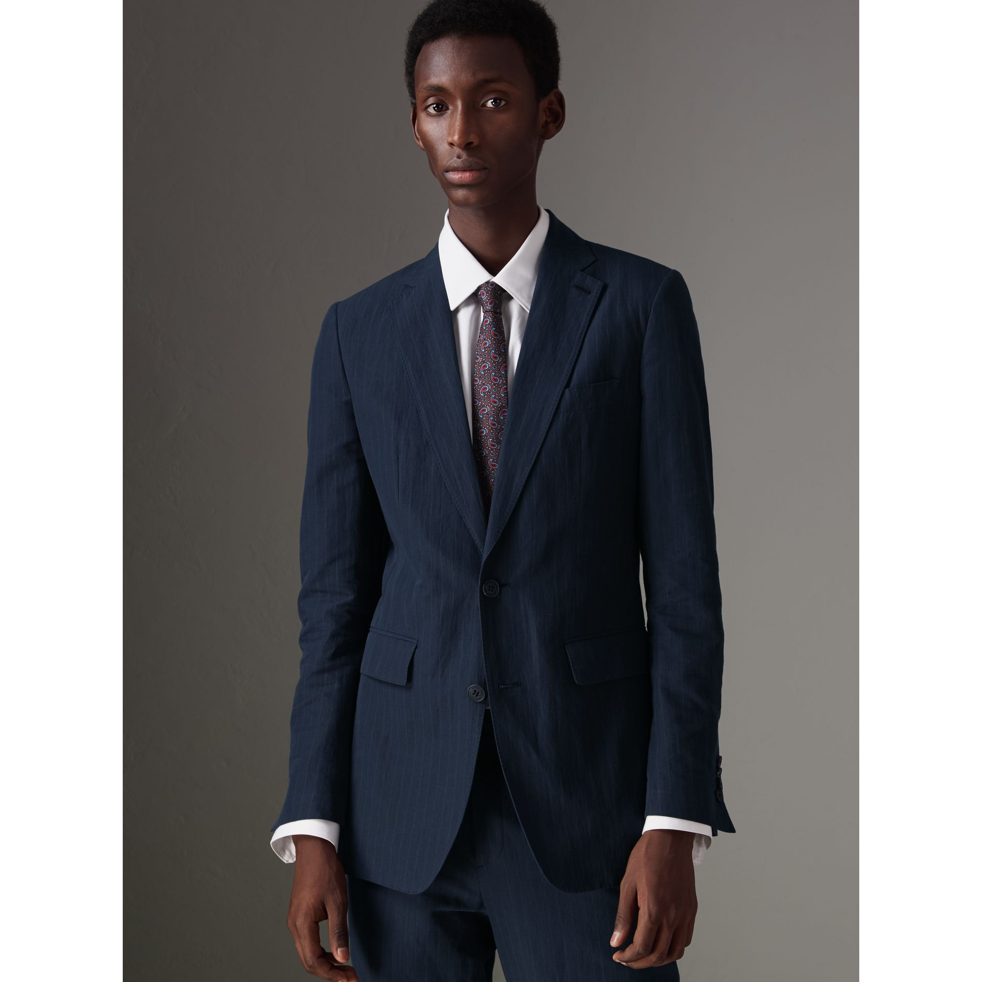 Slim Fit Pinstripe Ramie Cotton Suit in Navy - Men | Burberry Singapore - gallery image 6