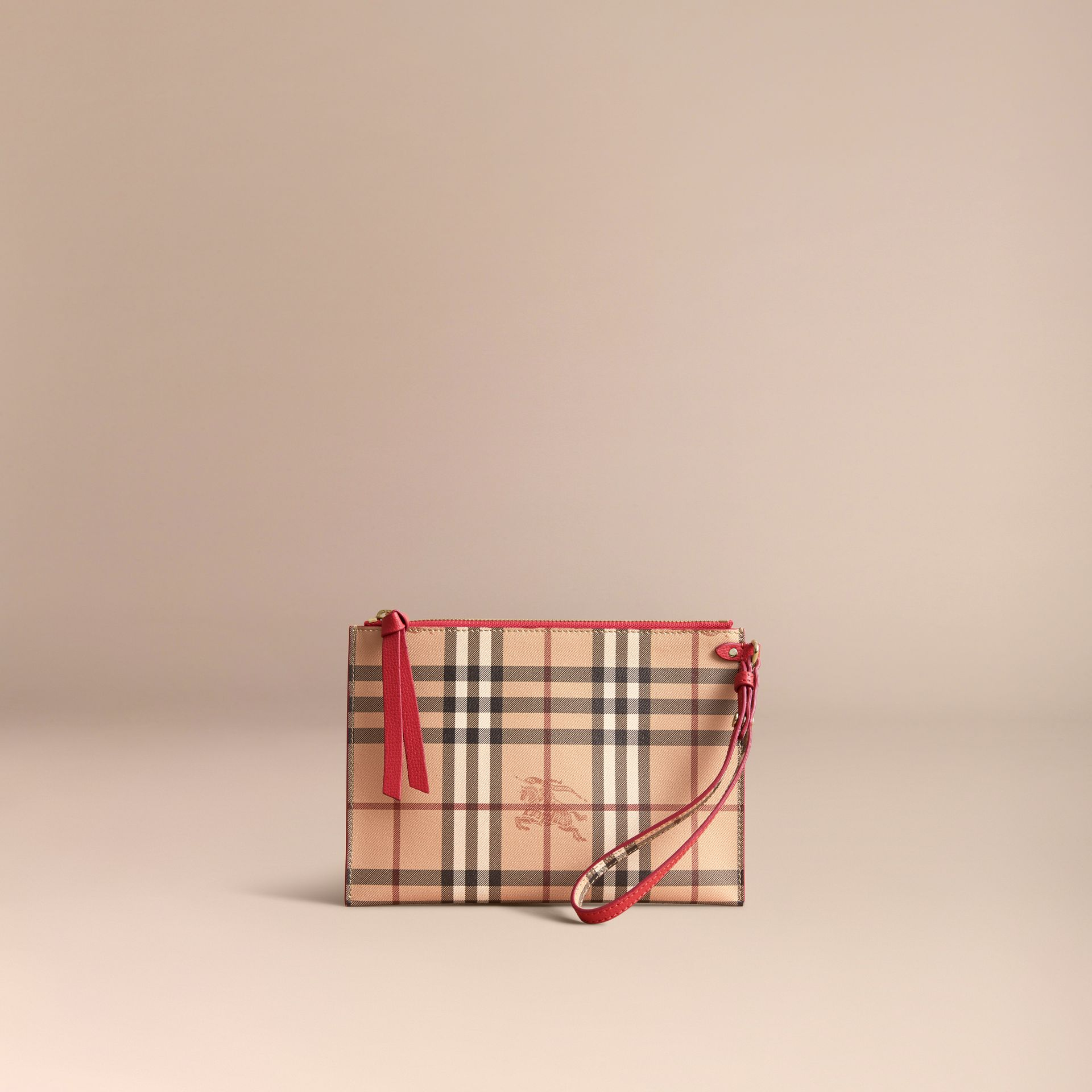Haymarket Check and Leather Pouch - Women | Burberry - gallery image 6