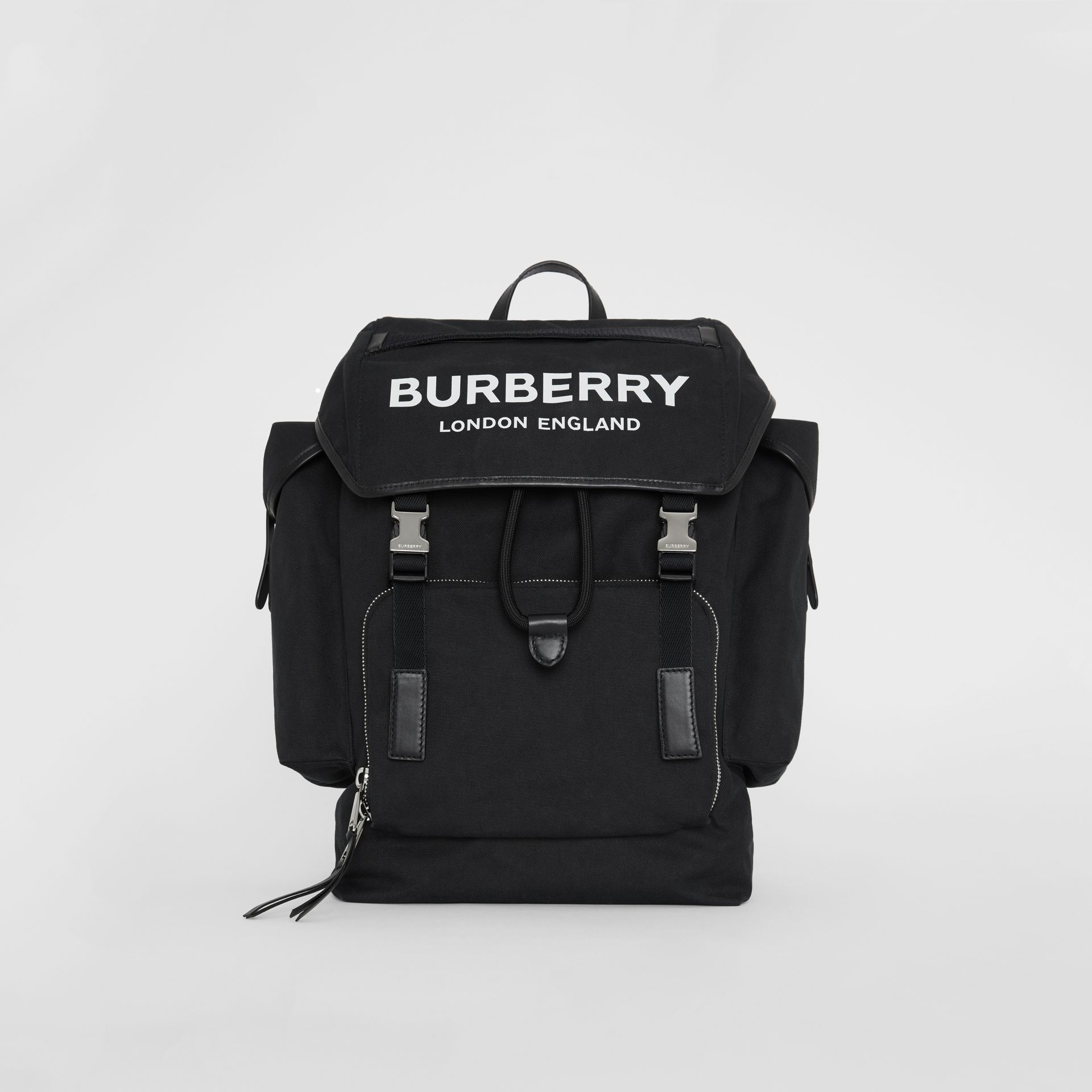 Medium Logo Detail Cotton Blend Backpack in Black - Men | Burberry - gallery image 0