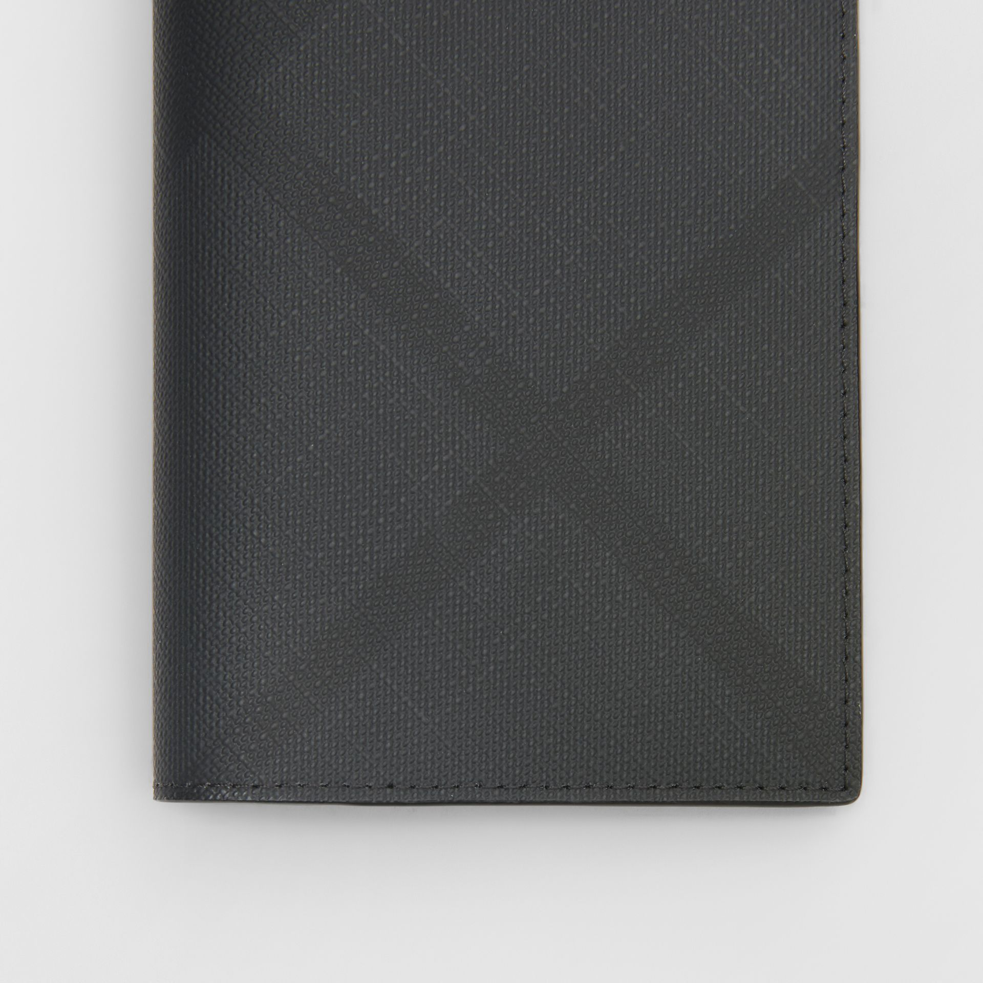 London Check and Leather Passport Holder in Dark Charcoal - Men | Burberry - gallery image 1