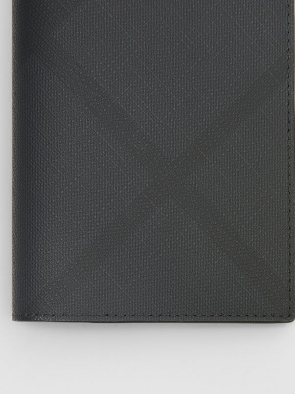 London Check and Leather Passport Holder in Dark Charcoal - Men | Burberry - cell image 1