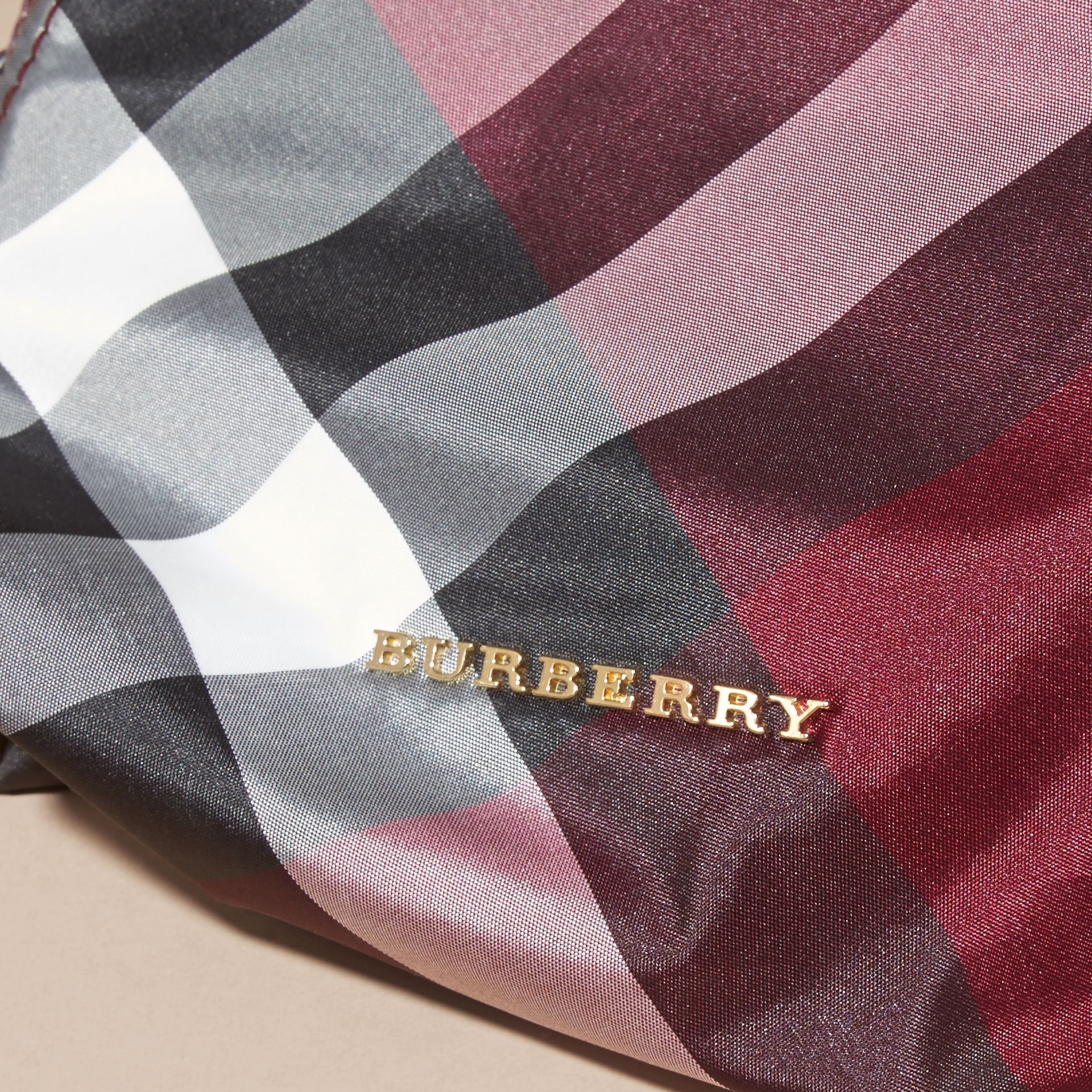 Medium Zip-top Check Technical Pouch in Plum - Women | Burberry Canada - gallery image 2