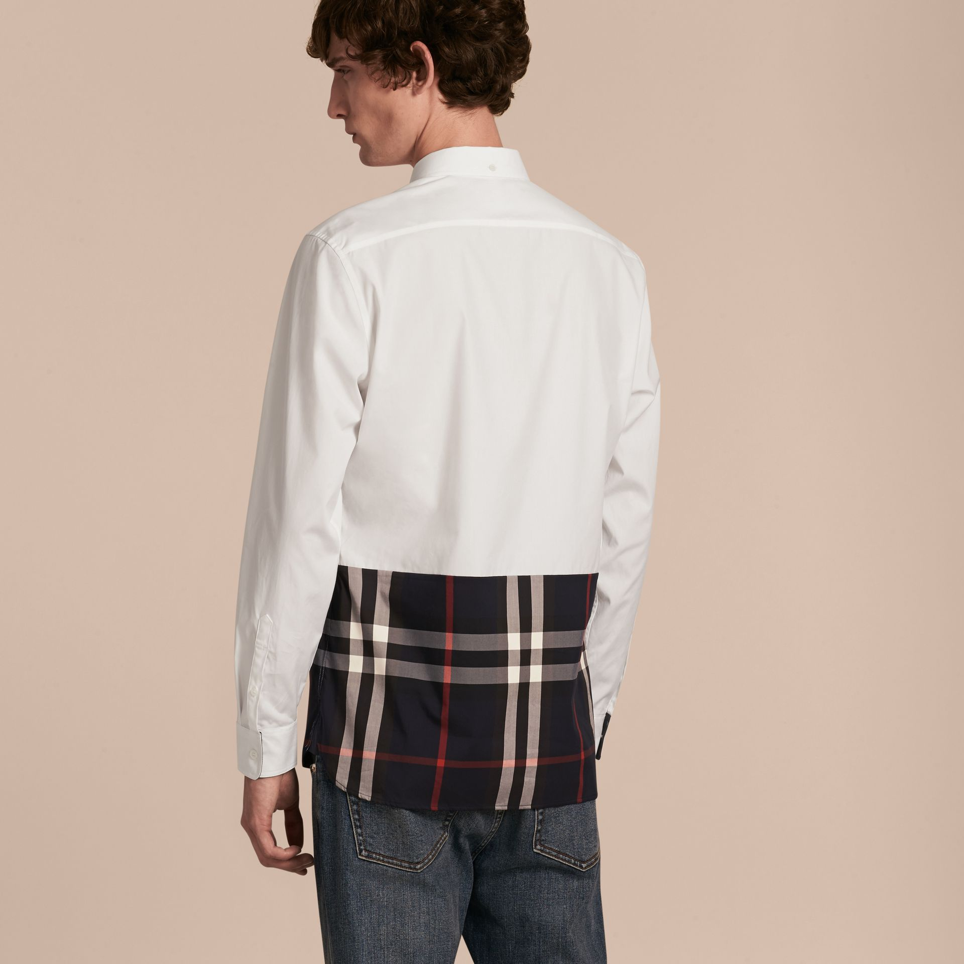 Check Panel Stretch-Cotton Poplin Shirt in White - gallery image 3