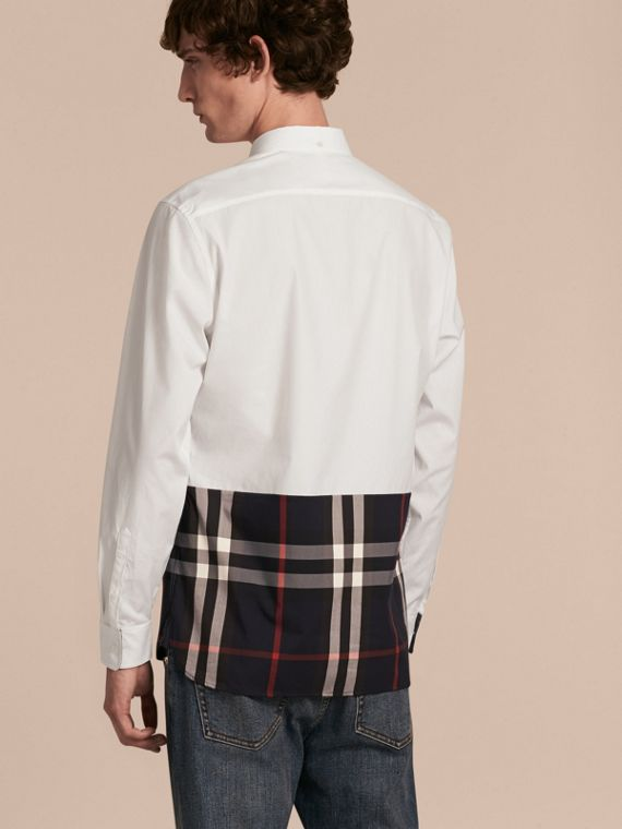 White Check Panel Stretch-Cotton Poplin Shirt White - cell image 2