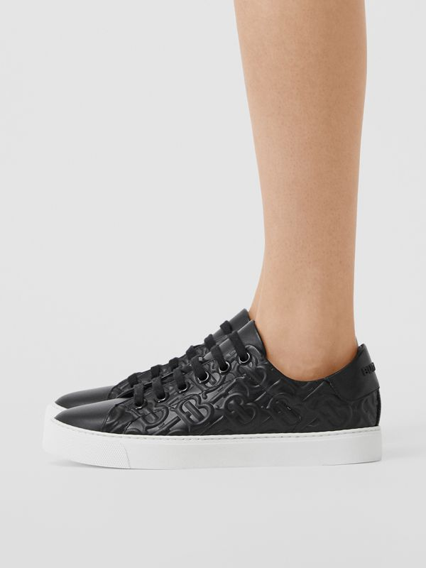 Monogram Leather Sneakers in Black - Women | Burberry Australia - cell image 2