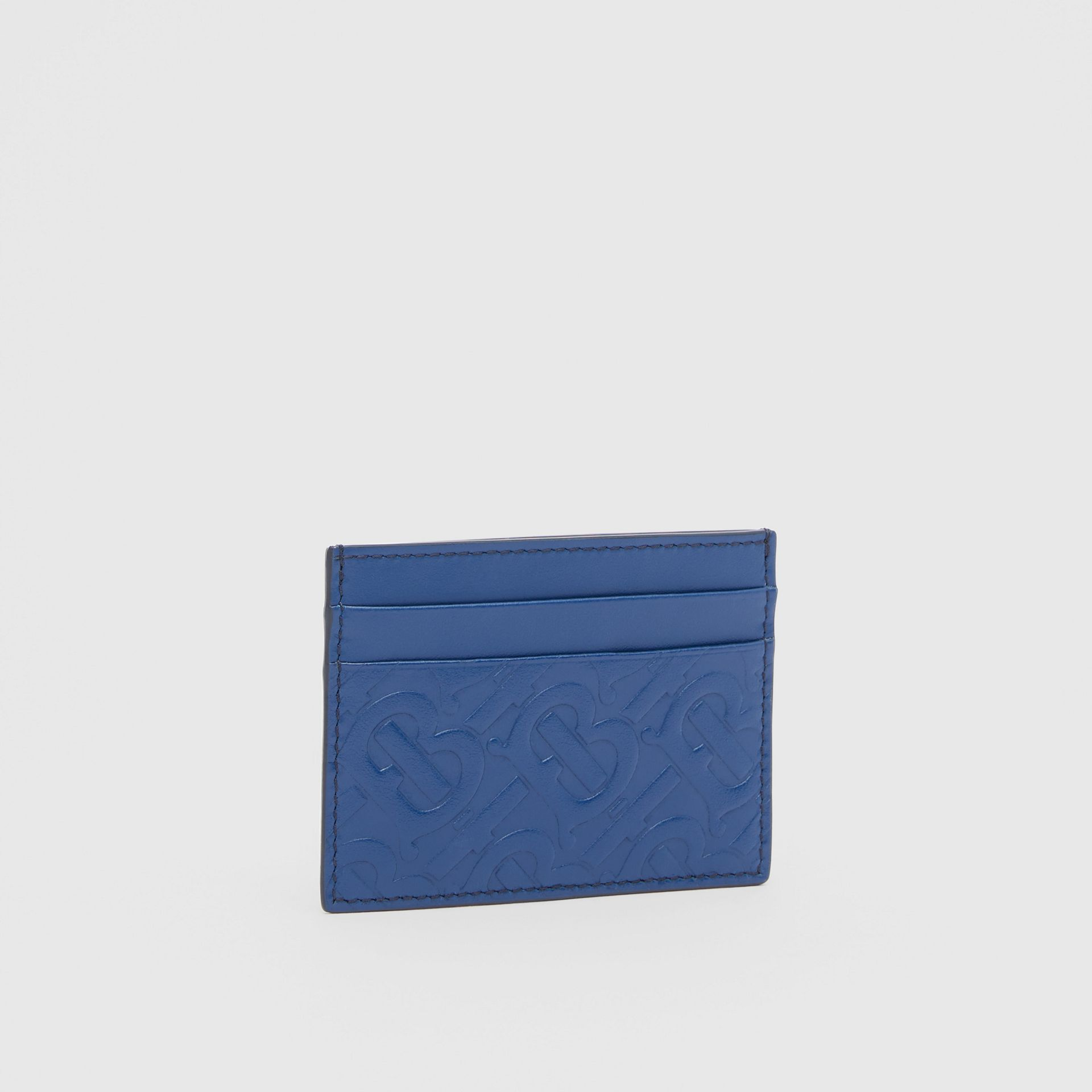 Monogram Leather Card Case in Pale Canvas Blue - Men | Burberry United States - gallery image 3