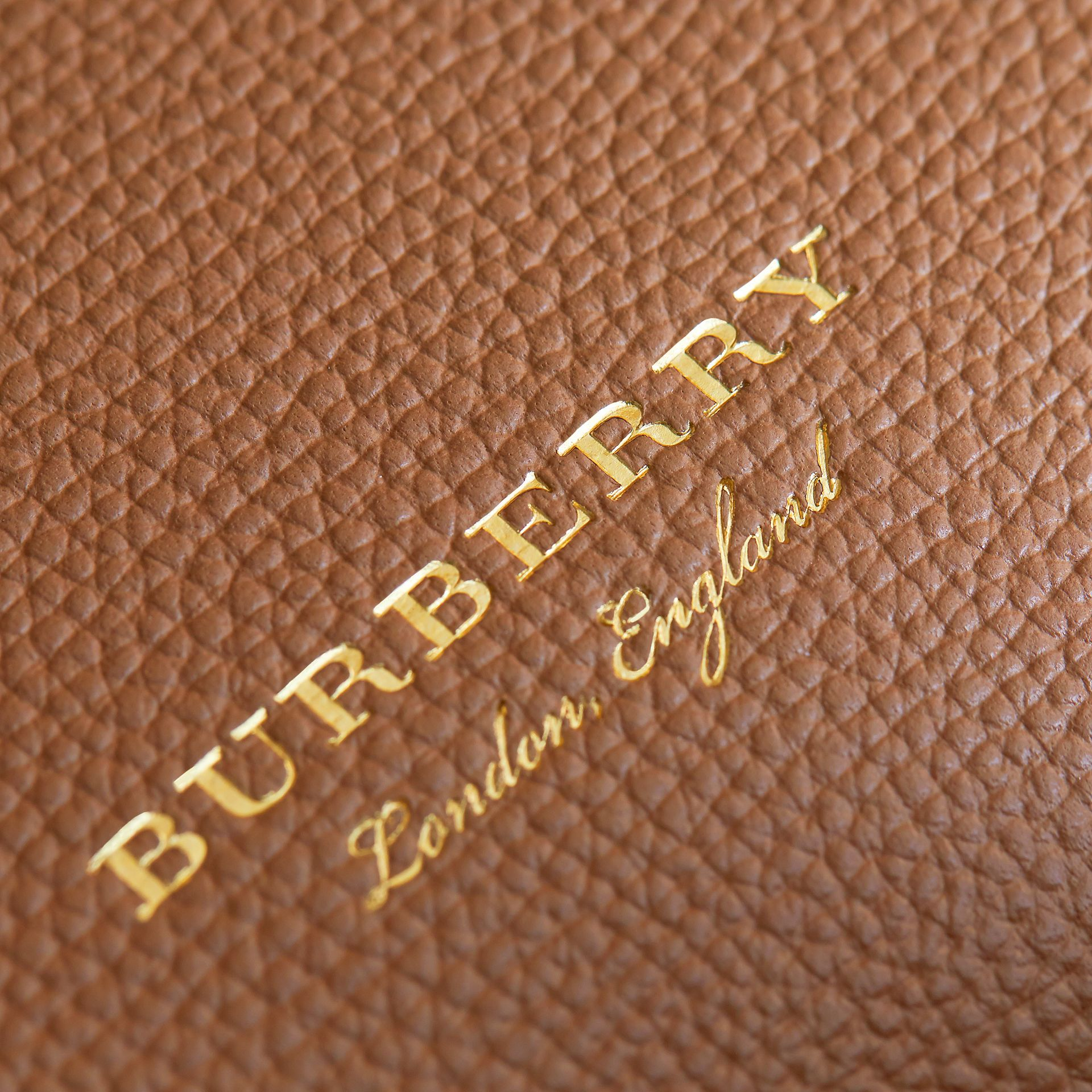 Medium Grainy Leather and House Check Tote Bag in Dark Sand - Women | Burberry - gallery image 7
