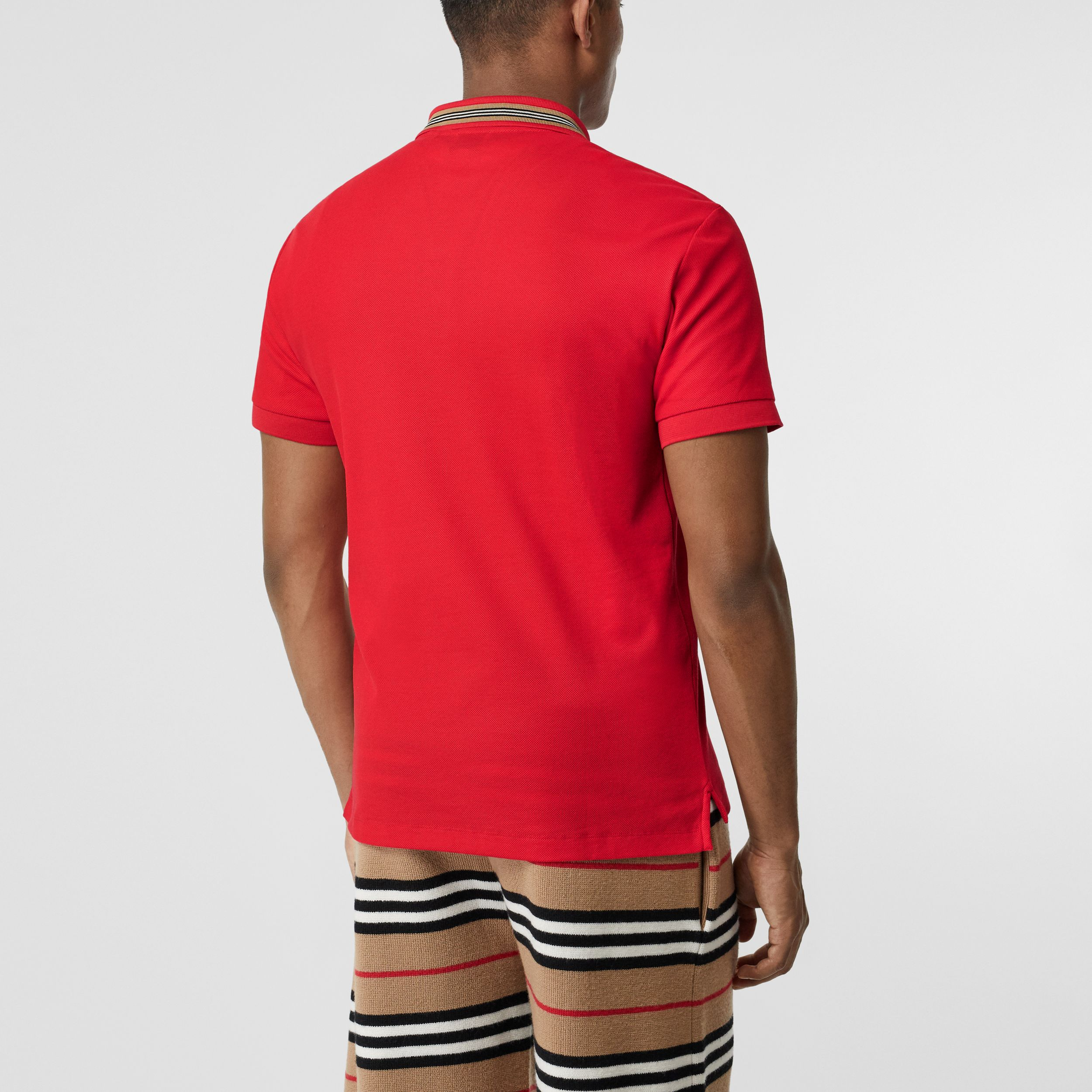 Icon Stripe Detail Cotton Piqué Polo Shirt in Bright Red - Men | Burberry - 3