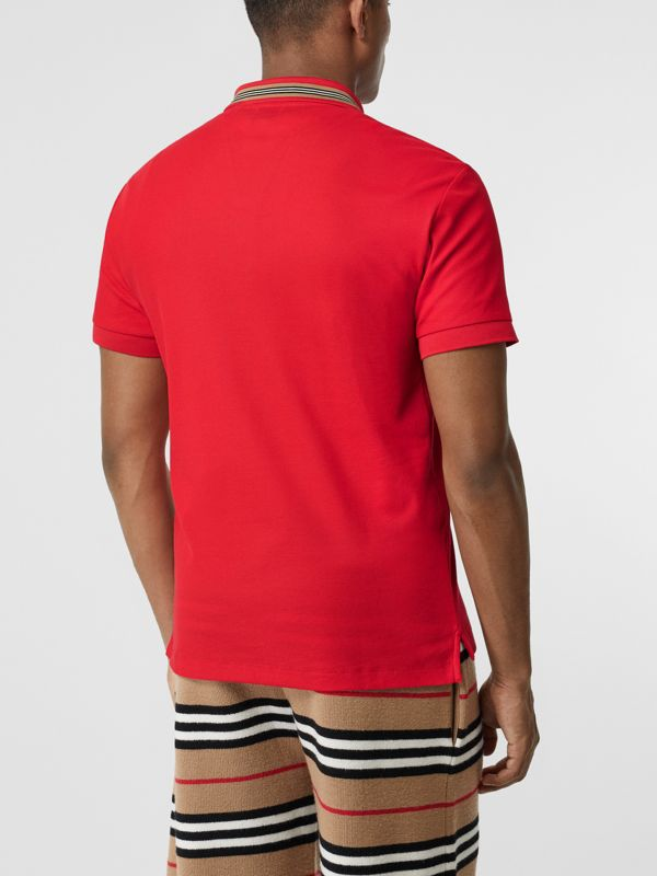 Icon Stripe Detail Cotton Piqué Polo Shirt in Bright Red - Men | Burberry Australia - cell image 2