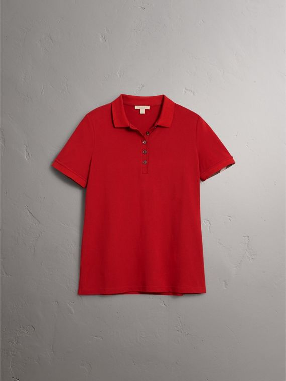 Check Trim Stretch Cotton Piqué Polo Shirt in Military Red - Women | Burberry - cell image 3