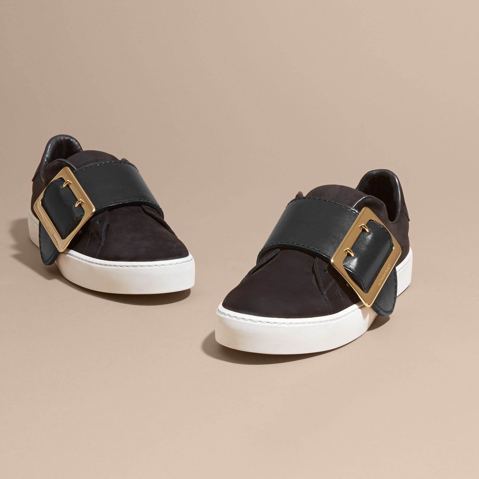 Oversize Buckle Detail Suede and Leather Trainers - gallery image 3