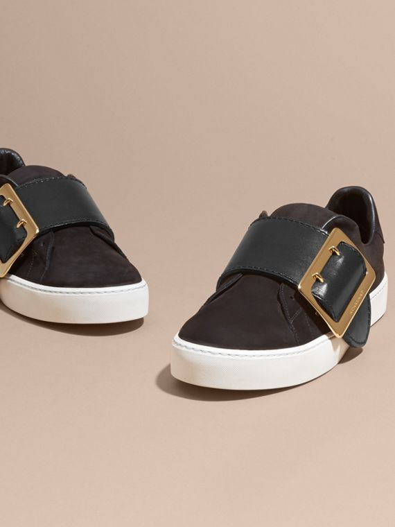 Oversize Buckle Detail Suede and Leather Trainers - cell image 2
