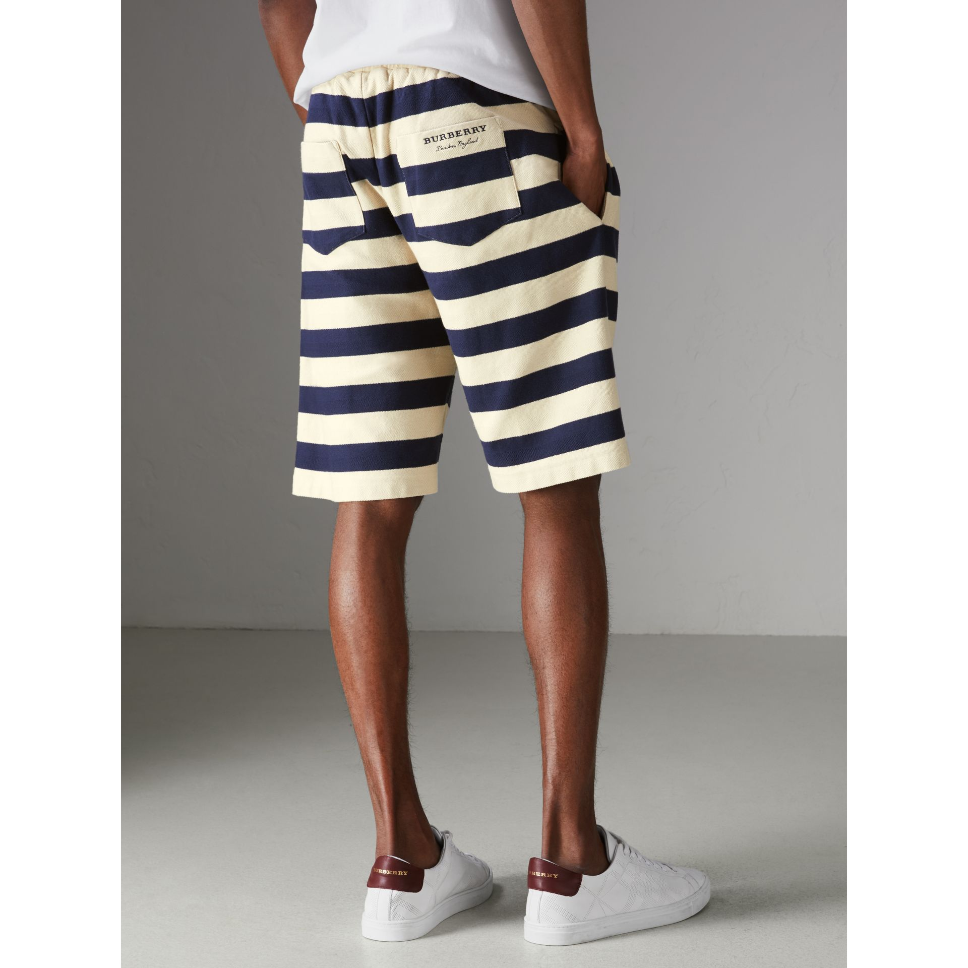 Striped Cotton Shorts in Off White/navy - Men | Burberry Singapore - gallery image 3