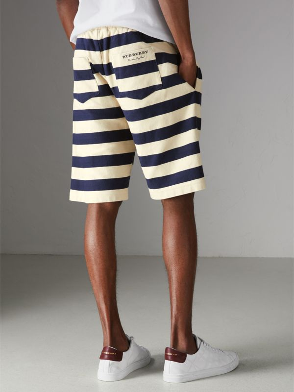 Striped Cotton Shorts in Off White/navy - Men | Burberry - cell image 3