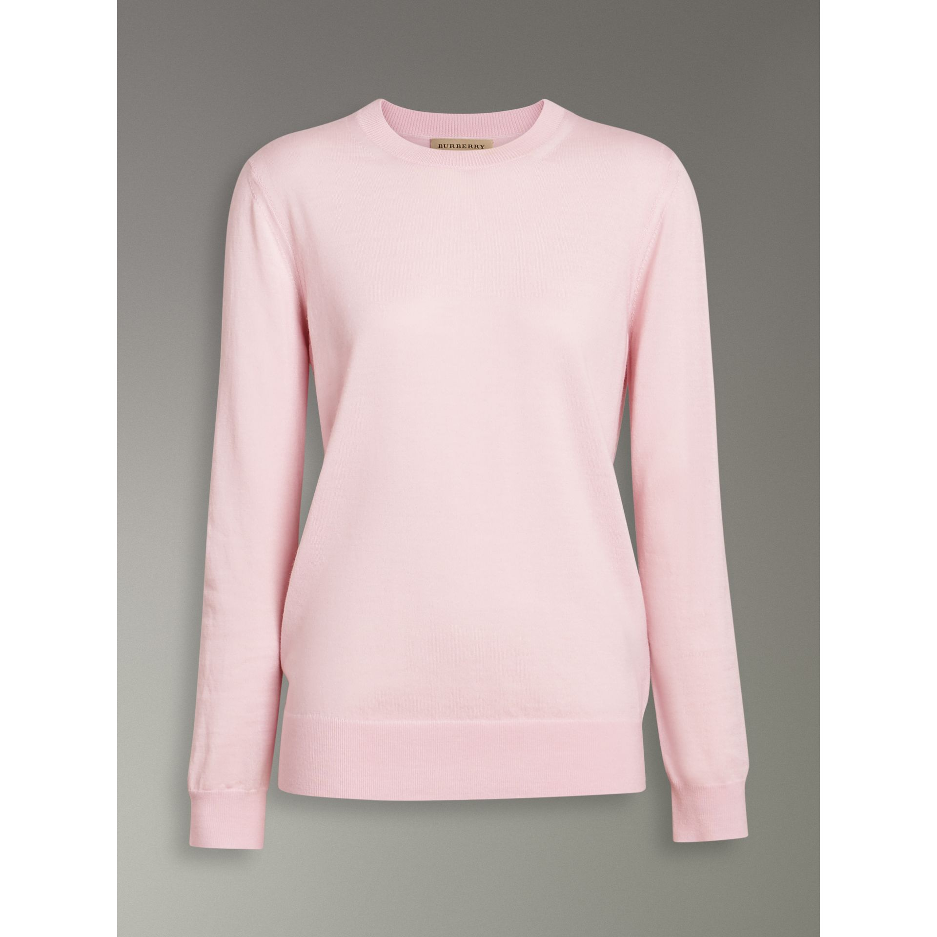 Check Elbow Detail Merino Wool Sweater in Light Pink - Women | Burberry Australia - gallery image 3