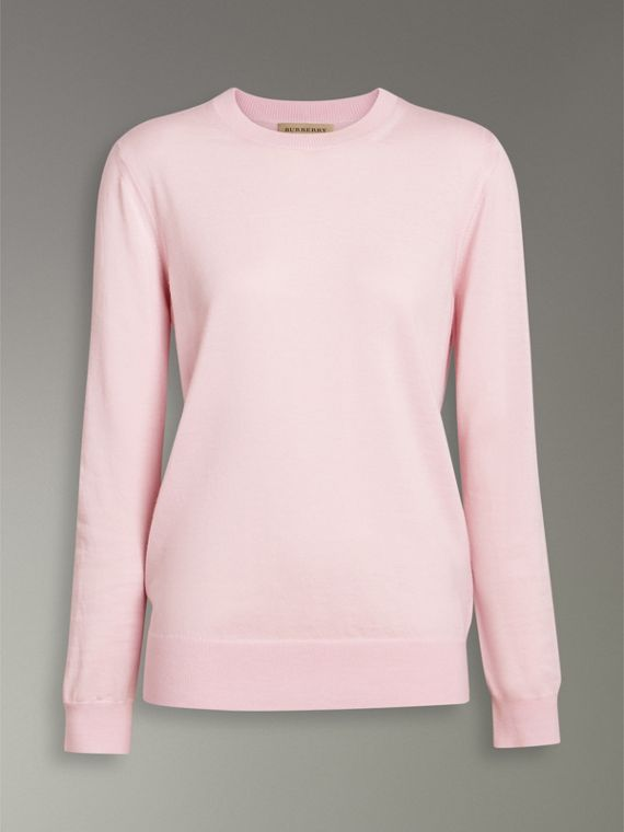 Check Elbow Detail Merino Wool Sweater in Light Pink - Women | Burberry United States - cell image 3