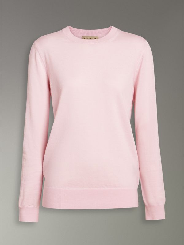 Check Elbow Detail Merino Wool Sweater in Light Pink - Women | Burberry - cell image 3