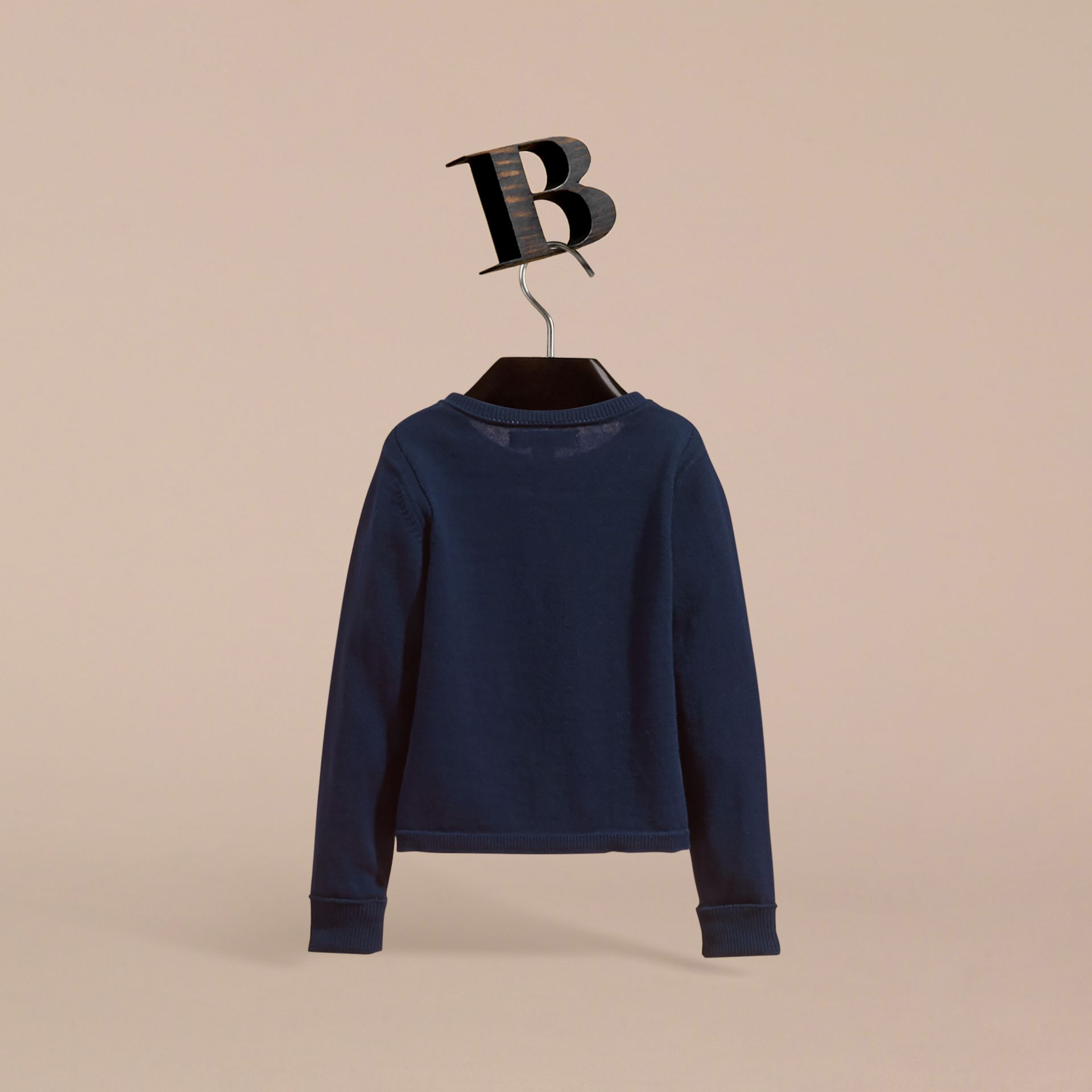 Check Cuff Cotton Knit Cardigan in Navy - Girl | Burberry - gallery image 4