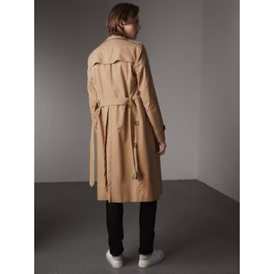 Extra-long Resin Button Cotton Gabardine Trench Coat in Honey ...