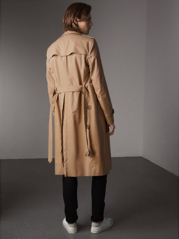 Extra-long Resin Button Cotton Gabardine Trench Coat in Honey - Men | Burberry Australia - cell image 2