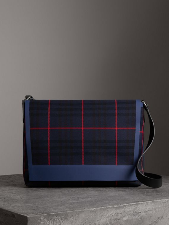 Large Tartan Cotton Messenger Bag in Deep Navy