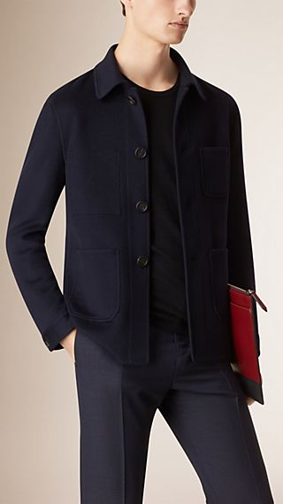 Unlined Cashmere Wool Utility Jacket