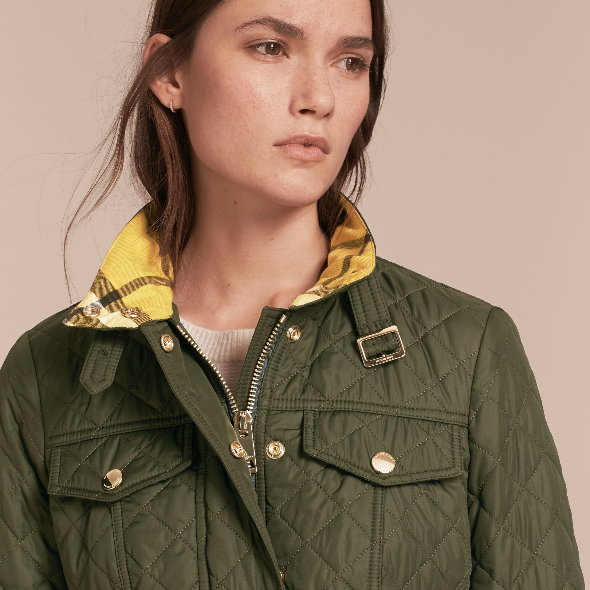 Buckle Detail Technical Field Jacket in Military Green - gallery image 5