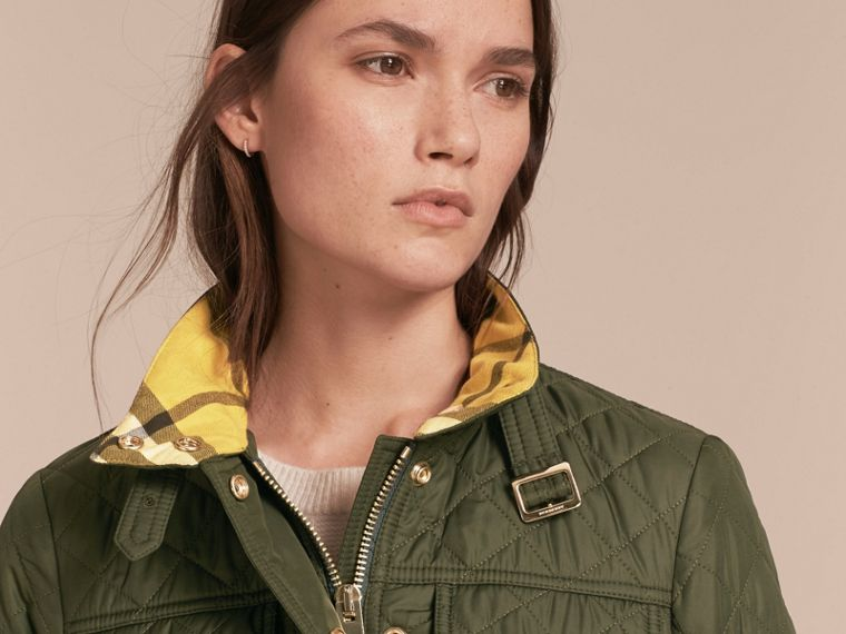 Buckle Detail Technical Field Jacket in Military Green - cell image 4