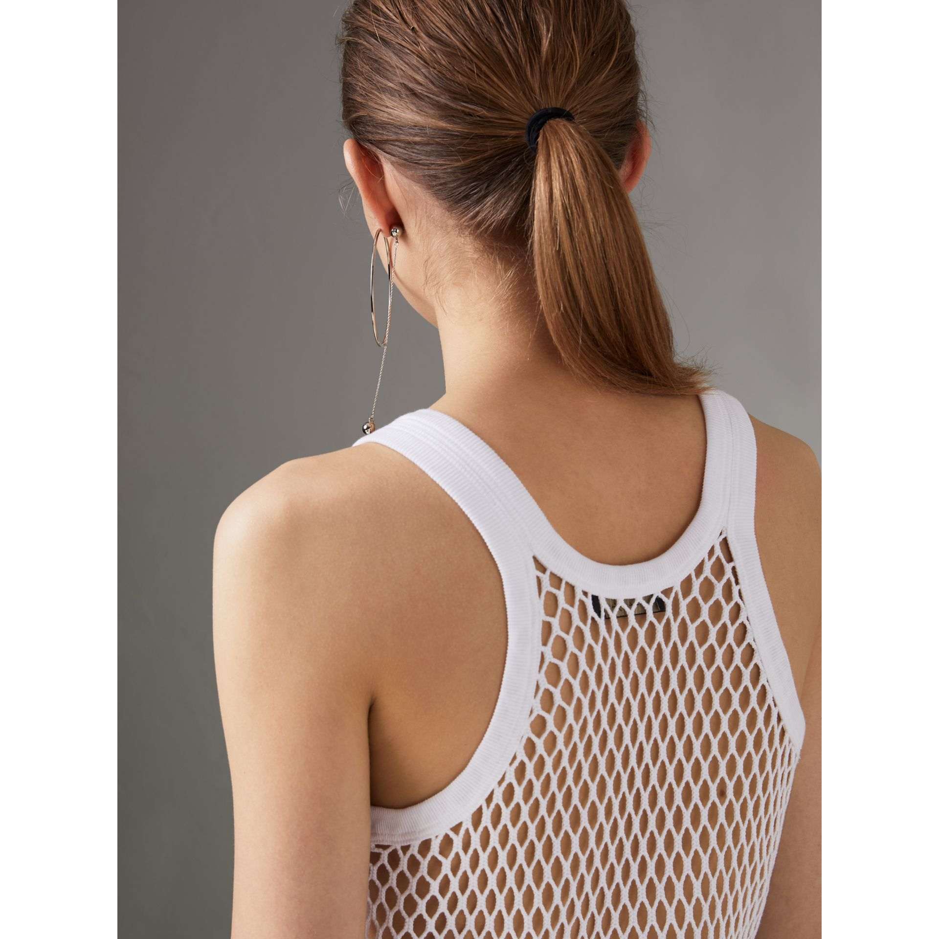 Cotton String Vest in Optic White - Women | Burberry - gallery image 1