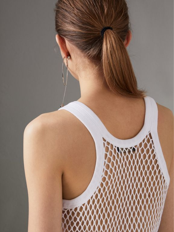 Cotton String Vest in Optic White - Women | Burberry - cell image 1