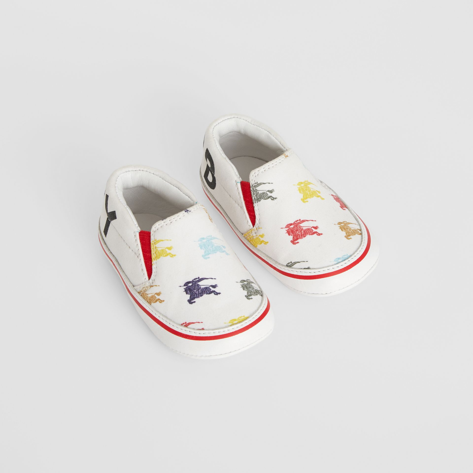 EKD Cotton and Leather Slip-on Sneakers in Optic White - Children | Burberry Canada - gallery image 0