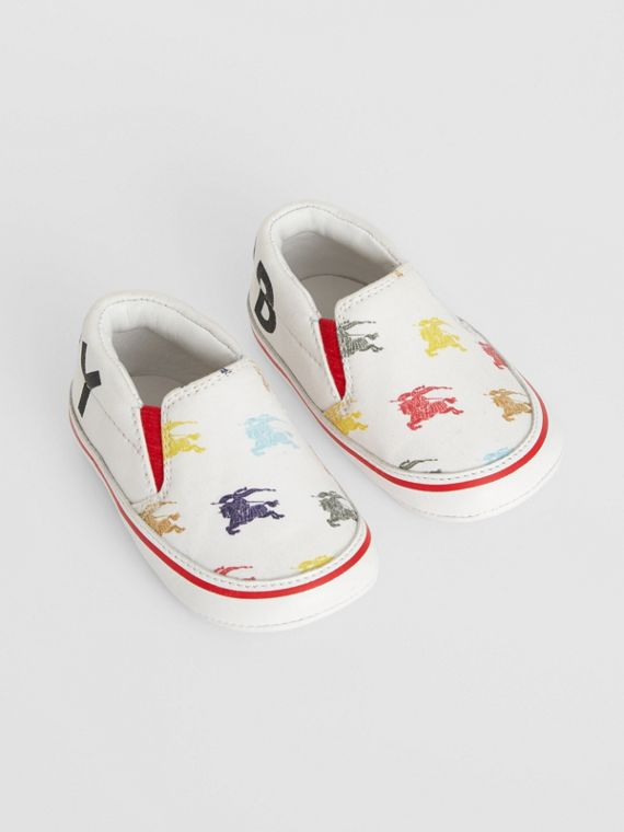 EKD Cotton and Leather Slip-on Sneakers in Optic White