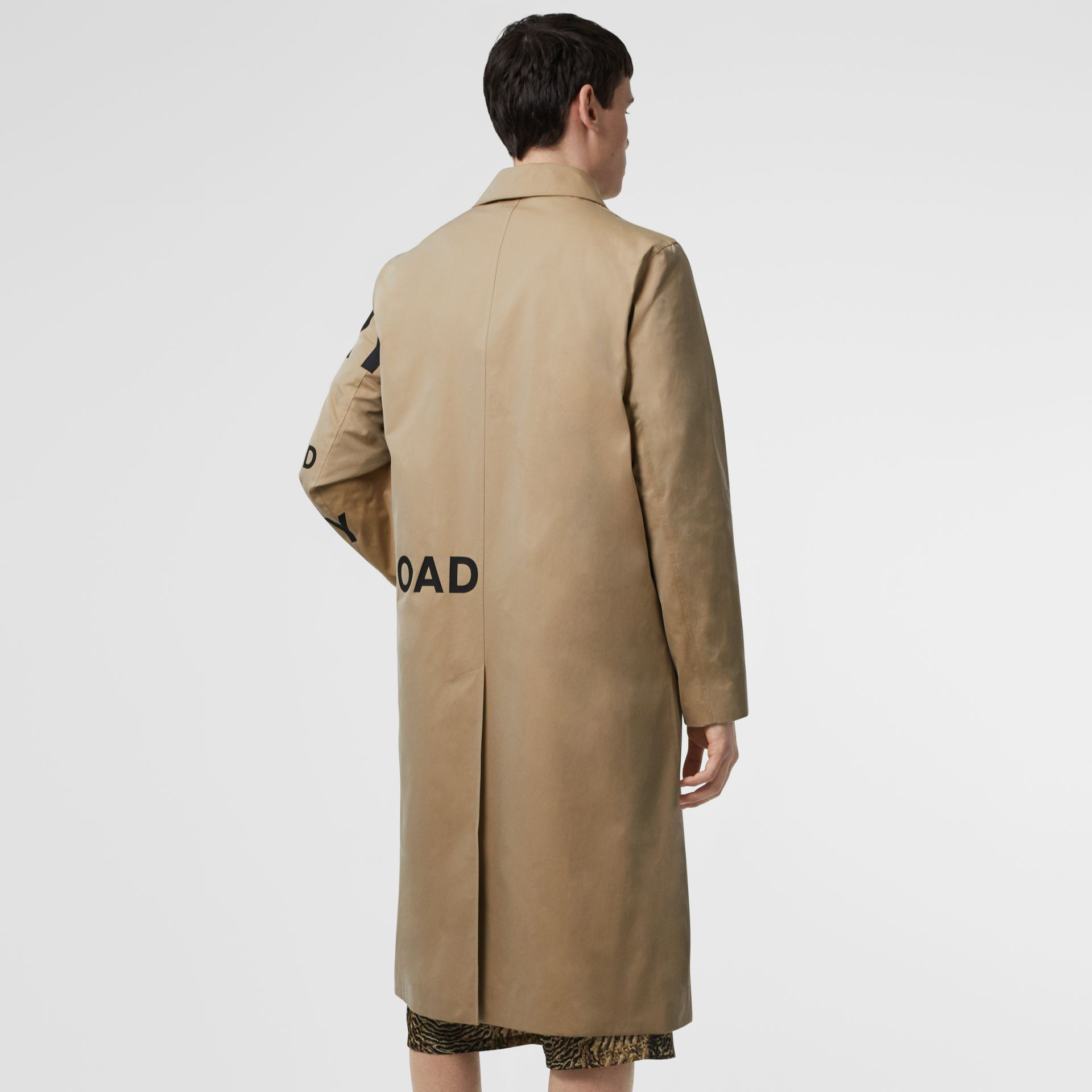 Horseferry Print Cotton Gabardine Car Coat in Honey - Men | Burberry United Kingdom - gallery image 2