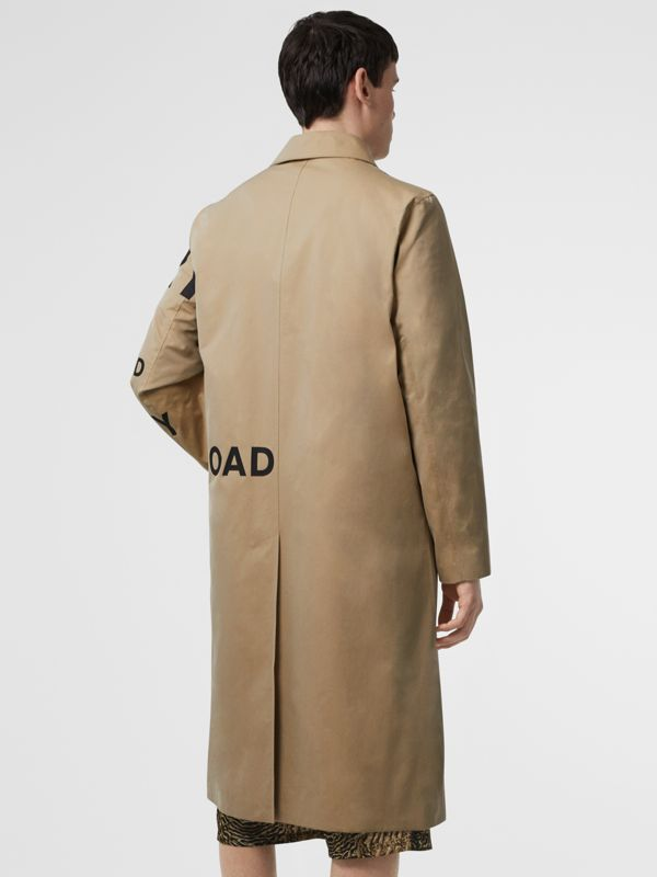 Horseferry Print Cotton Gabardine Car Coat in Honey - Men | Burberry - cell image 2