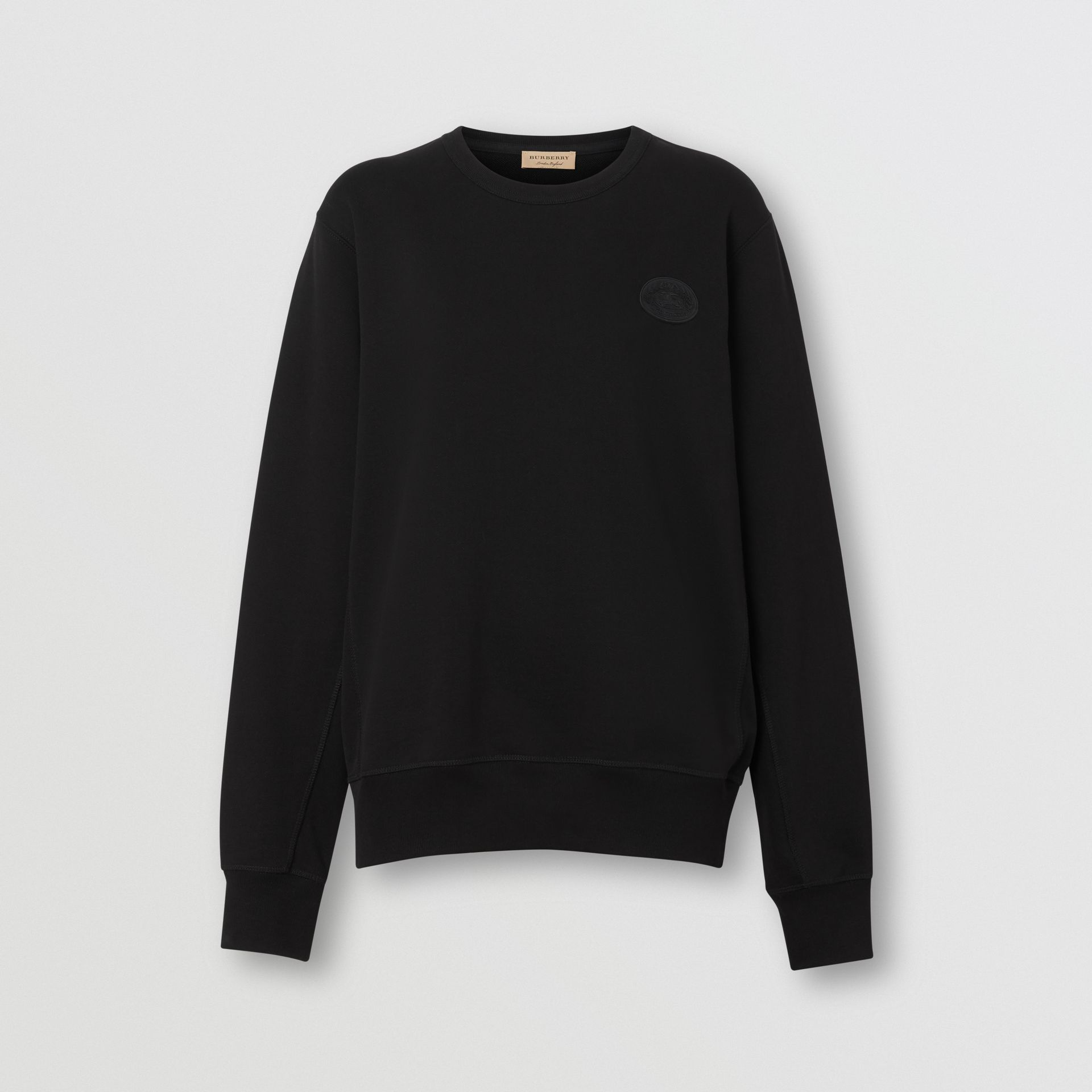 Crest Detail Cotton Sweatshirt in Black - Women | Burberry - gallery image 3