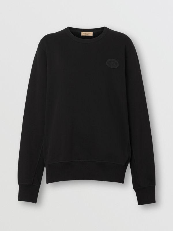 Crest Detail Cotton Sweatshirt in Black - Women | Burberry United States - cell image 3